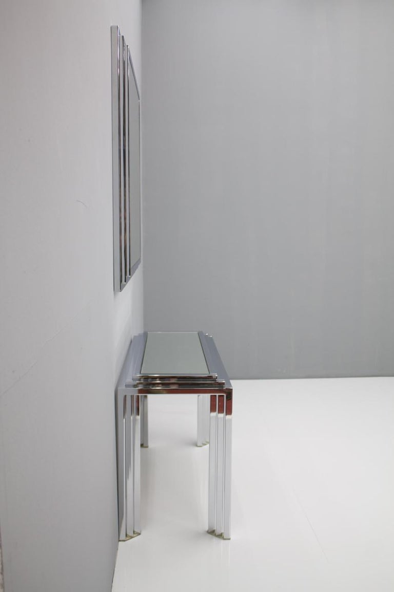 Hollywood Regency Chrome Mirror and Console Table, France, 1974 In Good Condition For Sale In Frankfurt / Dreieich, DE