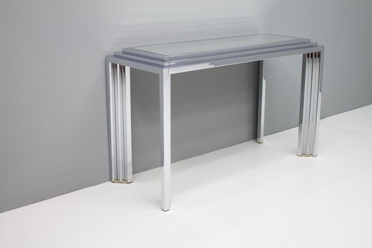 Late 20th Century Hollywood Regency Chrome Mirror and Console Table, France, 1974 For Sale