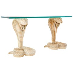 Hollywood Regency Cobra Snakes Console Table