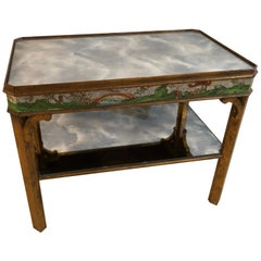 Hollywood Regency Coffee Table with Poly-Chromed Mirrored Scenes in Chinoiserie