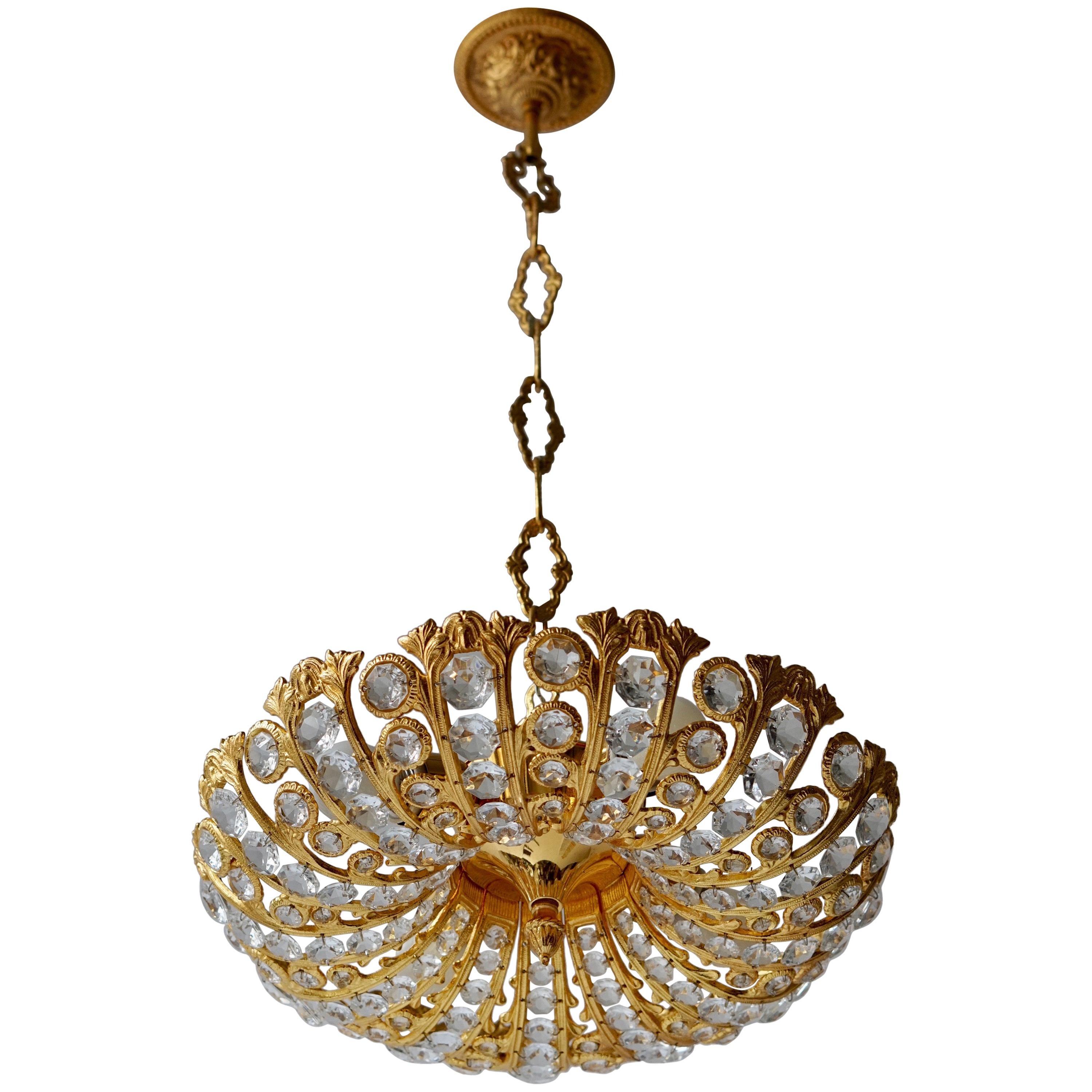 Hollywood Regency Crystal and Gilded Chandelier by Palwa