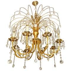 Hollywood Regency Crystal Cascade Waterfall Ornate Gilt Brass 8-light Chandelier