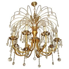 Hollywood Regency Crystal Cascade Waterfall Ornate Gilt Brass 8-Light Chandelier