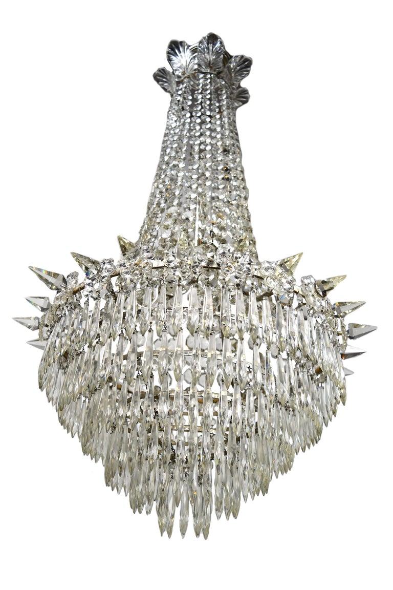 American Hollywood Regency Crystal Chandelier For Sale