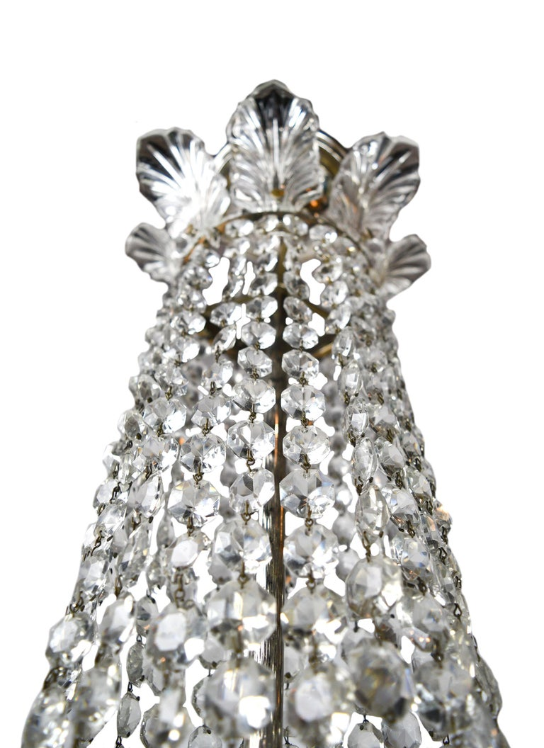 Early 20th Century Hollywood Regency Crystal Chandelier For Sale