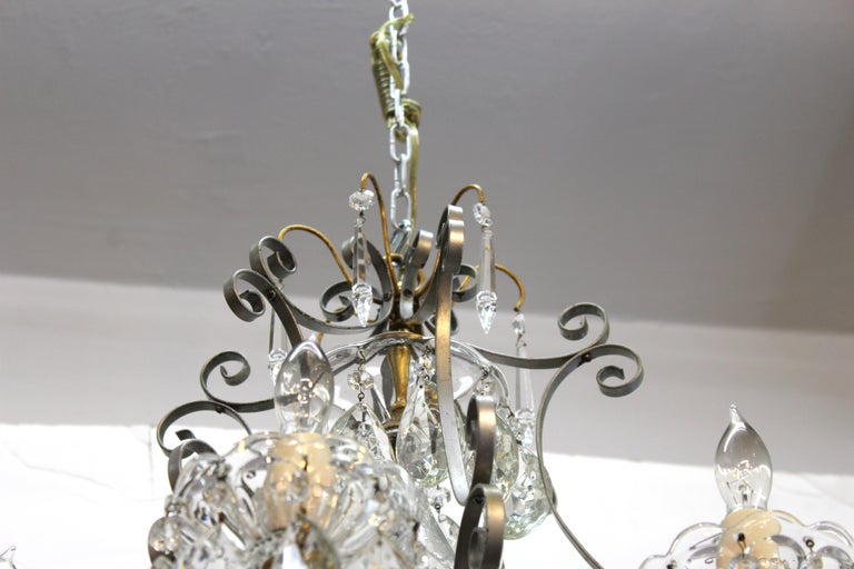 Hollywood Regency Crystal Chandelier with Gilt Metal Accents For Sale 3