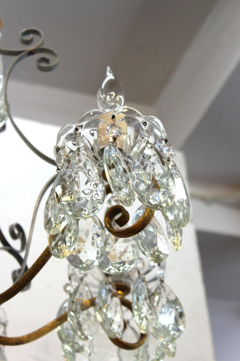 Hollywood Regency Crystal Chandelier with Gilt Metal Accents For Sale 5