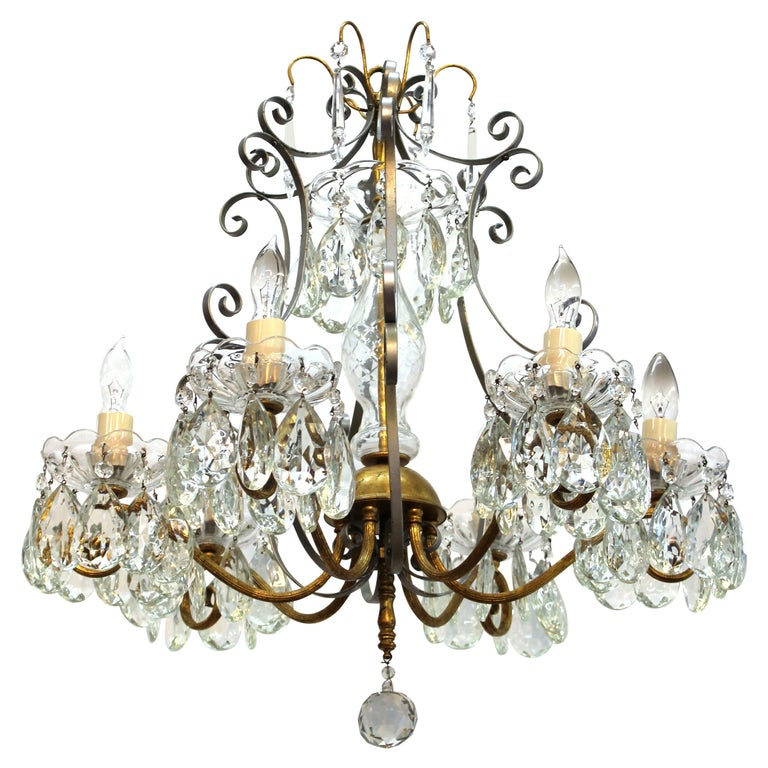 Hollywood Regency Crystal Chandelier with Gilt Metal Accents For Sale