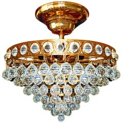 Hollywood Regency Crystal Wedding Cake 8-Light Flush Mount Gilt Brass Chandelier