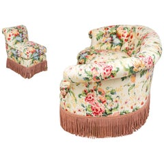 Hollywood Regency Custom Floral Living Room Set, Settee and Slipper Chair, Sofa
