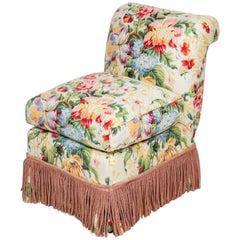 Hollywood Regency Custom Floral Rolled Back Slipper Chair with Tassel Skirt