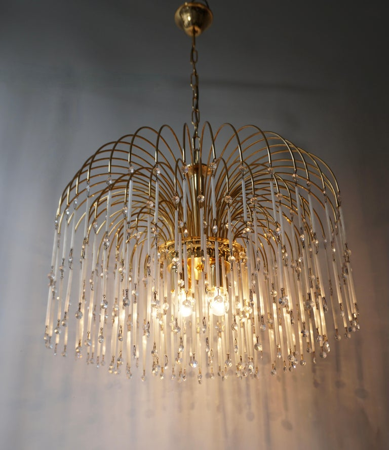 Mid-Century Modern Hollywood Regency Cut Crystal Waterfall Chandelier For Sale