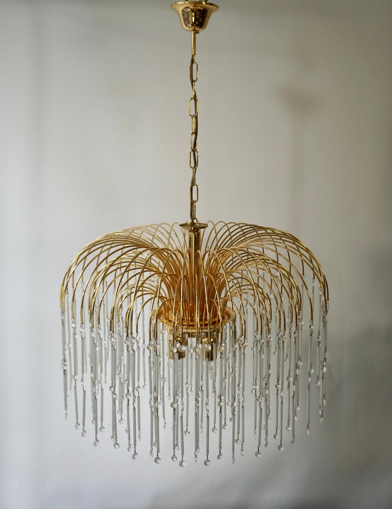 20th Century Hollywood Regency Cut Crystal Waterfall Chandelier For Sale