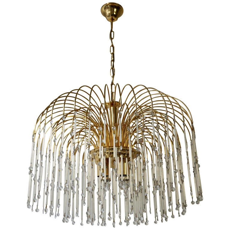 Hollywood Regency Cut Crystal Waterfall Chandelier For Sale