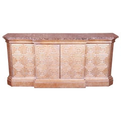 Hollywood Regency Diamond Faceted Marble Top Sideboard by Hickory White