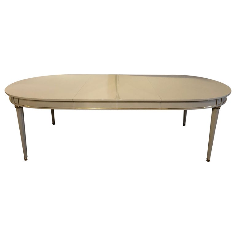 Hollywood Regency Dining Table in Gray Lacquered Bronze Mounted Finish For Sale