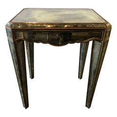 Hollywood Regency Distressed Beveled Mirror Single Draw End, Side Table or Desk