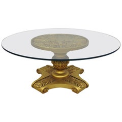 Hollywood Regency Dorothy Draper Style Gold Pedestal Base Glass Top Coffee Table