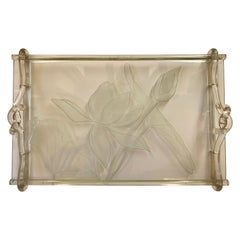 Hollywood Regency Dorothy Thorpe Frosted Glass Lucite Vanity Serving Tray Signed