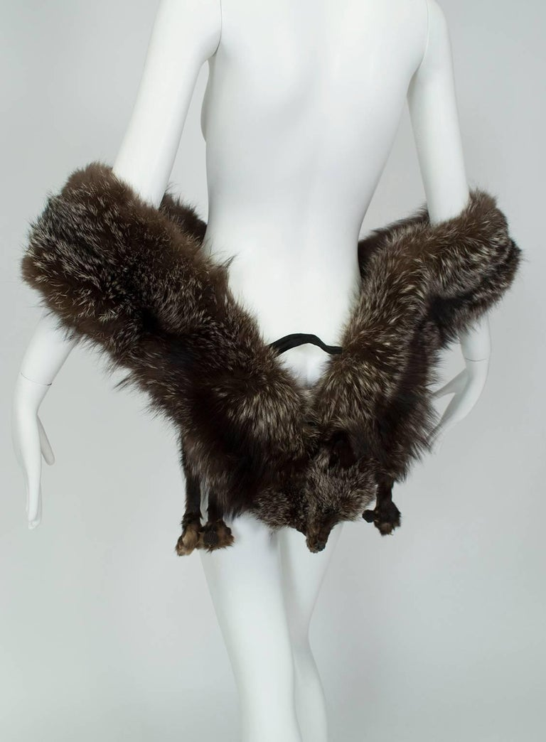 Hollywood Regency Double Fox Tippet Scarf Stole 1930s At