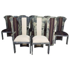 Hollywood Regency Dramatic High Back Dining Chairs (10) Gray Goatskin Aldo Tura
