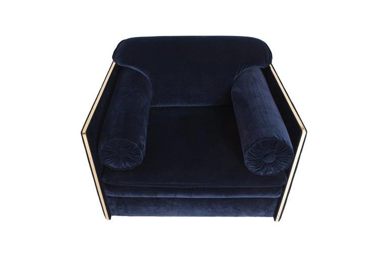 Hollywood Regency Easy Chairs in Dark Blue Velvet and Brass For Sale 3