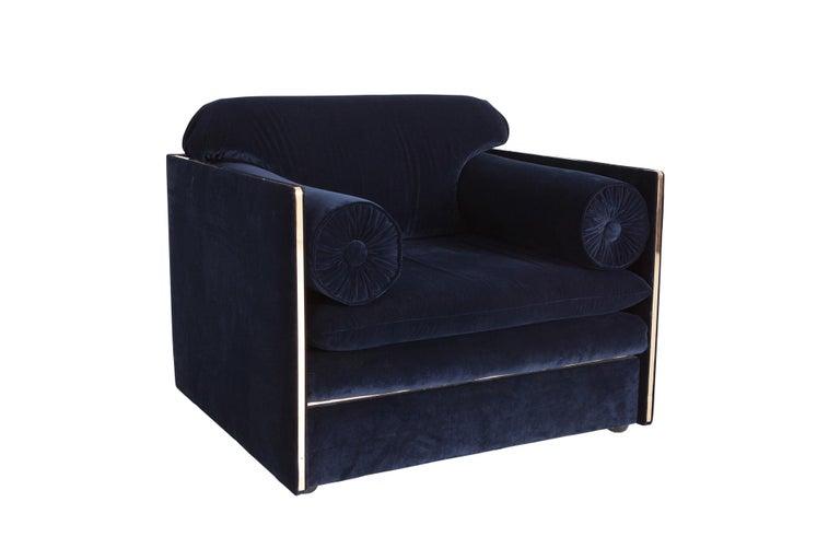 Hollywood Regency Easy Chairs in Dark Blue Velvet and Brass For Sale 4