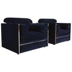 Hollywood Regency Easy Chairs in Dark Blue Velvet and Brass