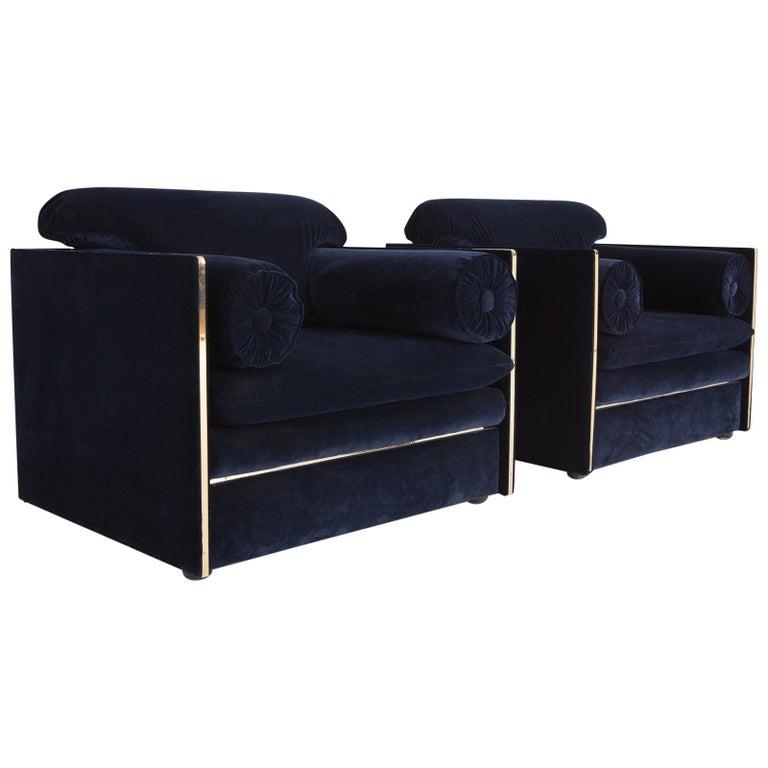 Hollywood Regency Easy Chairs in Dark Blue Velvet and Brass For Sale