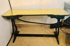 Hollywood Regency Ebony & Eglomise Glass Top Knee Hole Console / Desk / Vanity