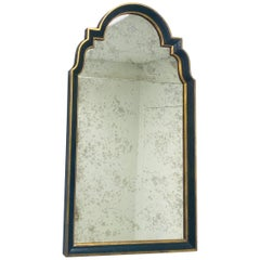 Hollywood Regency Ebony Black and Gold Antiqued Glass Wall or Mantel Mirror
