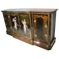 Hollywood Regency Églomisé Cabinet with Mirrored Bar