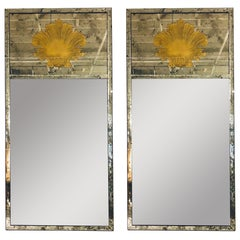 Hollywood Regency Eglomise Wall, Console Pier Mirrors Manner Maison Jansen Pair
