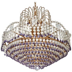 Hollywood Regency Empire Amethyst Crystal Wedding Cake 10-Light Chandelier