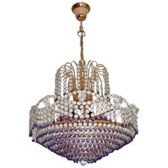 Hollywood Regency Empire Amethyst Crystal Wedding Cake 10-Light Chandelier