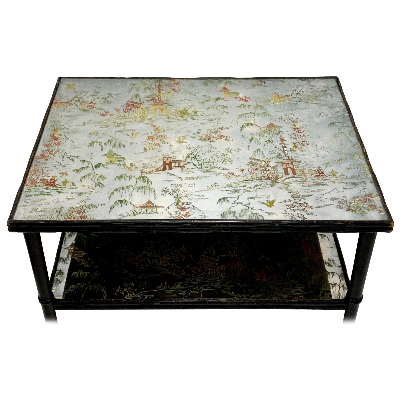 Hollywood Regency Era Faux Bamboo Églomisé Mirrored Chinoiserie Coffee Table