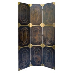 Hollywood Regency Era Faux Tortoise Leather And Brass Italian Folding Screen