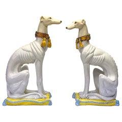Hollywood Regency Era Italian Terracotta Whippet Dogs, S/2