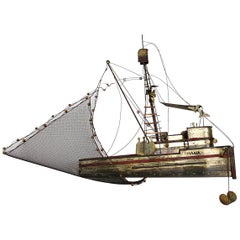 "Hollywood Regency Extra Large Brass Fishing Boat "" Maria "" by Curtis Jeré"