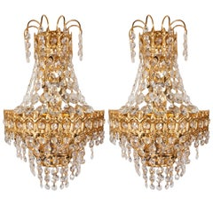 Hollywood Regency Faceted Crystal Teardrop Sconces with Gold-Plated Fittings
