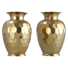 Hollywood Regency Faceted Decorative Brass Vases, Pair