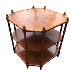 Hollywood Regency Faux Bamboo and Walnut End Table