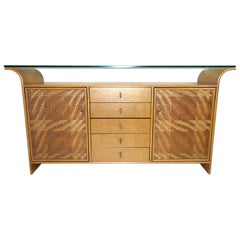 Hollywood Regency Faux Bamboo and Wood Credenza Buffet Sideboard with Glass Top