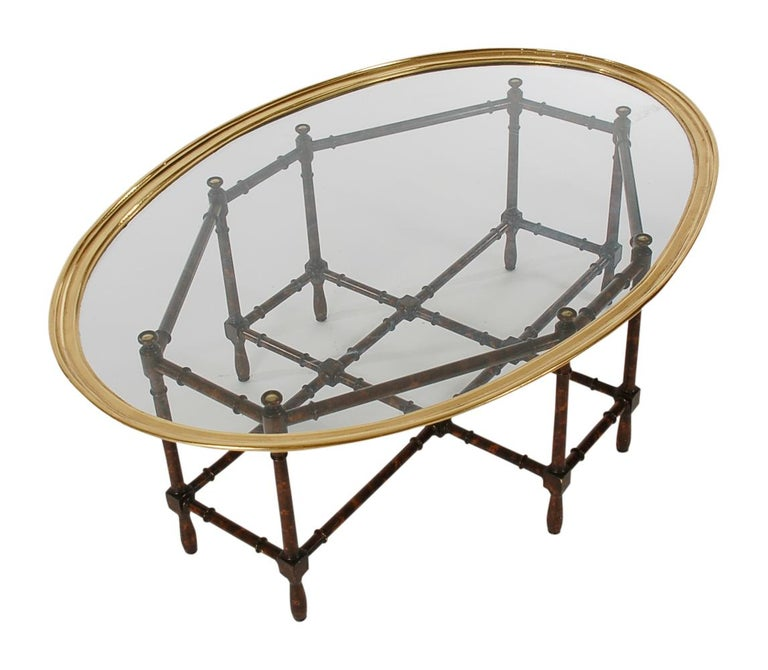 Bamboo Tortoise Coffee Table: Hollywood Regency Faux Bamboo, Brass And Glass Tray