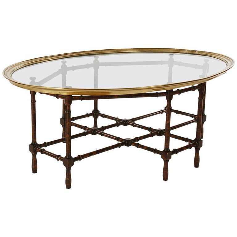 Tray Coffee Table Sale: Hollywood Regency Faux Bamboo, Brass And Glass Tray