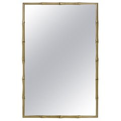 Hollywood Regency Faux Bamboo Brass Mirror Manner of James Mont, 1960s