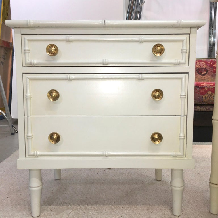 American Hollywood Regency Faux Bamboo Chest of Drawers with Brass Hardware