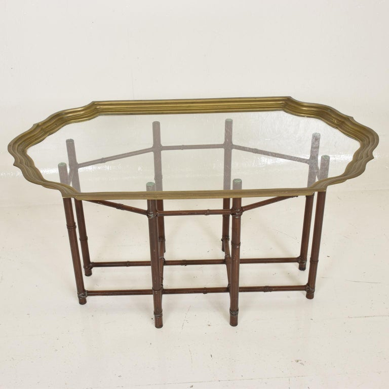 American Hollywood Regency Faux Bamboo Coffee Table with Brass & Glass Top