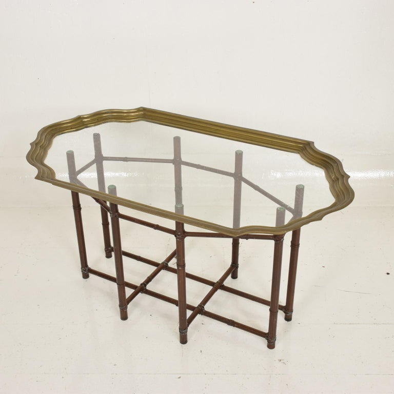 Hollywood Regency Faux Bamboo Coffee Table with Brass & Glass Top In Good Condition In National City, CA