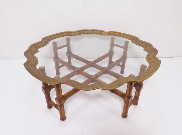 Mid-Century Modern Hollywood Regency Faux Bamboo Coffee Table with Brass Framed Top